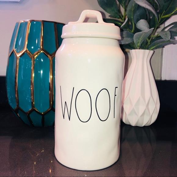"Rae Dunn ""WOOF"" Dog Treat Canister"